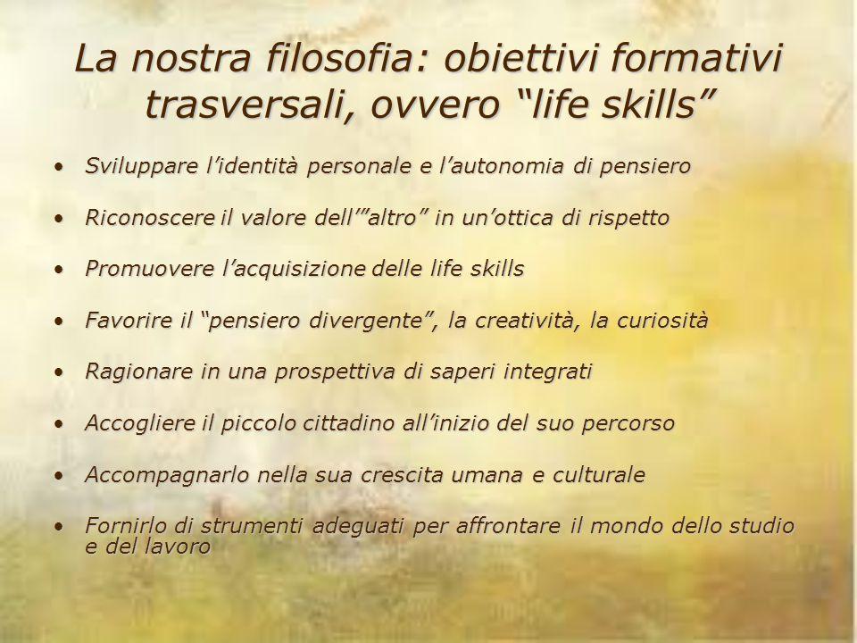 """La nostra filosofia: obiettivi formativi trasversali, ovvero """"life skills"""" Sviluppare l'identità personale e l'autonomia di pensieroSviluppare l'ident"""