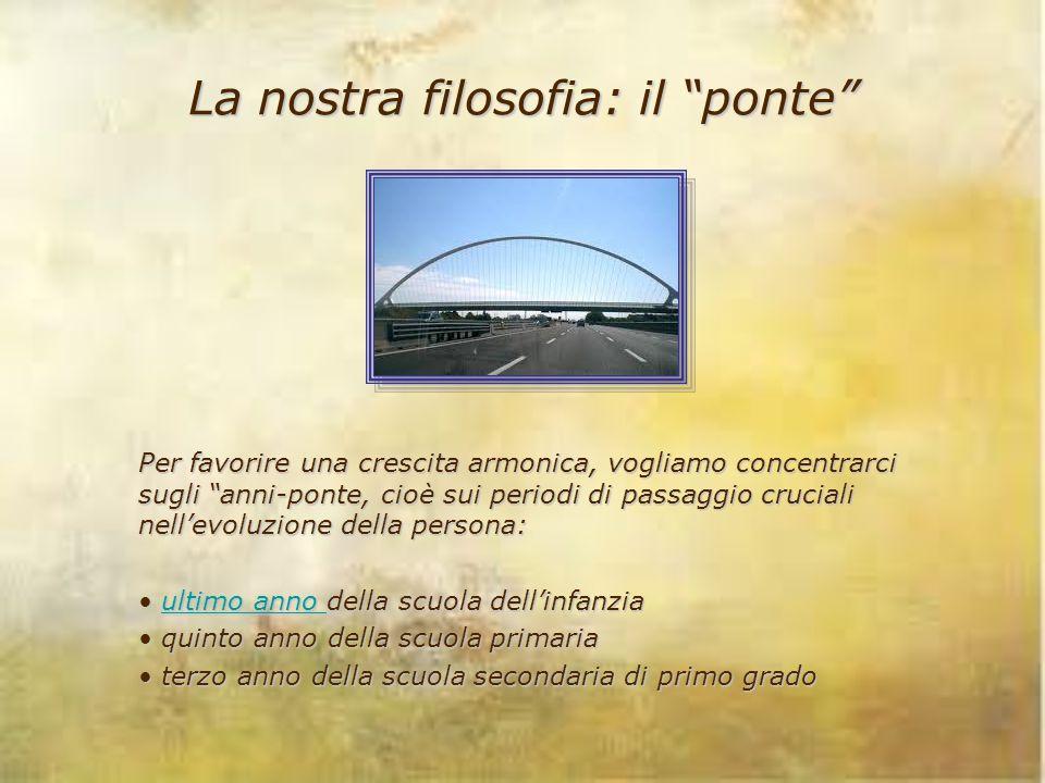 """La nostra filosofia: il """"ponte"""" Per favorire una crescita armonica, vogliamo concentrarci sugli """"anni-ponte, cioè sui periodi di passaggio cruciali ne"""