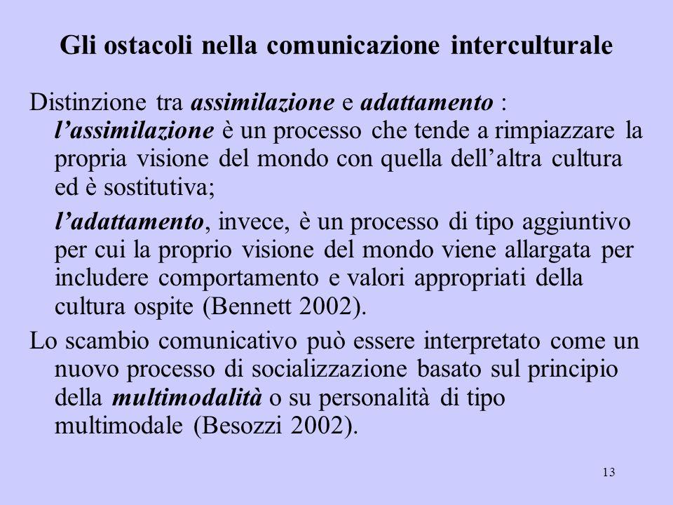 13 Gli ostacoli nella comunicazione interculturale Distinzione tra assimilazione e adattamento : l'assimilazione è un processo che tende a rimpiazzare
