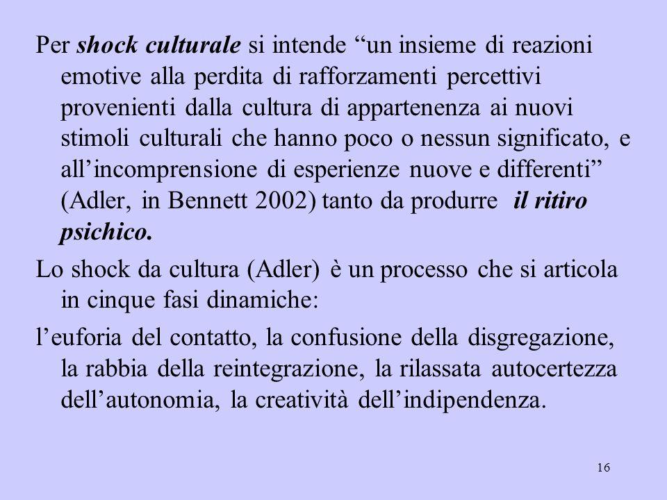 """16 Per shock culturale si intende """"un insieme di reazioni emotive alla perdita di rafforzamenti percettivi provenienti dalla cultura di appartenenza a"""