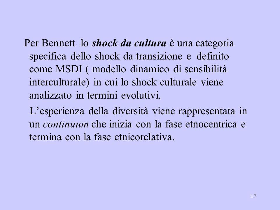 17 Per Bennett lo shock da cultura è una categoria specifica dello shock da transizione e definito come MSDI ( modello dinamico di sensibilità intercu