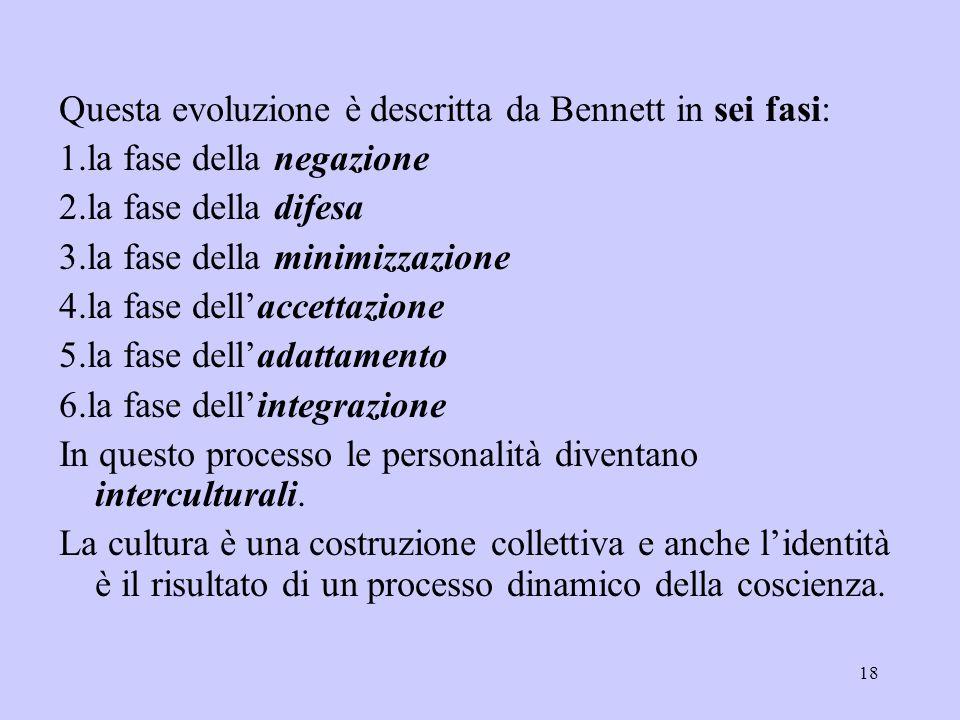 18 Questa evoluzione è descritta da Bennett in sei fasi: 1.la fase della negazione 2.la fase della difesa 3.la fase della minimizzazione 4.la fase del