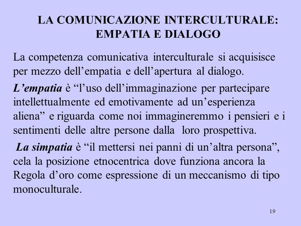 19 LA COMUNICAZIONE INTERCULTURALE: EMPATIA E DIALOGO La competenza comunicativa interculturale si acquisisce per mezzo dell'empatia e dell'apertura a