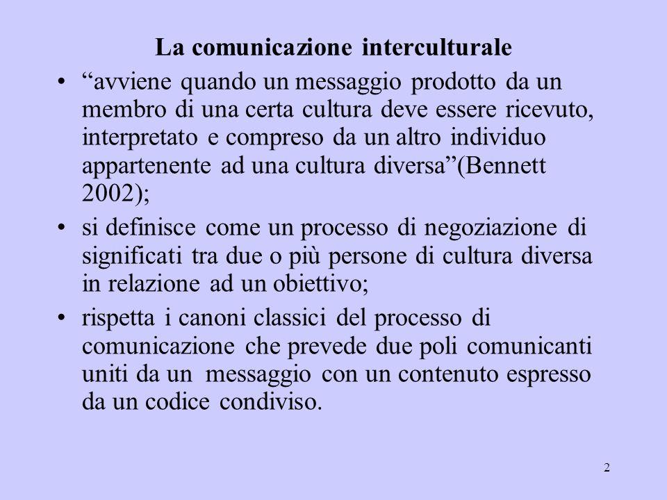 """2 """"avviene quando un messaggio prodotto da un membro di una certa cultura deve essere ricevuto, interpretato e compreso da un altro individuo apparten"""