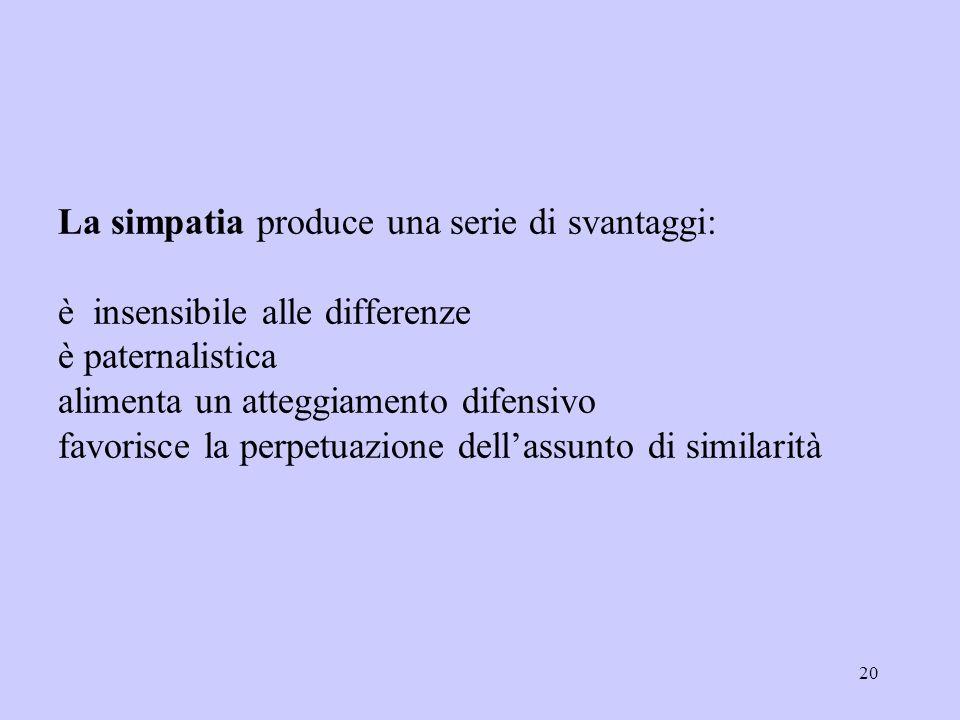 20 La simpatia produce una serie di svantaggi: è insensibile alle differenze è paternalistica alimenta un atteggiamento difensivo favorisce la perpetu