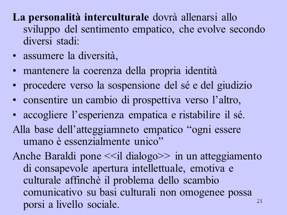 21 La personalità interculturale dovrà allenarsi allo sviluppo del sentimento empatico, che evolve secondo diversi stadi: assumere la diversità, mante