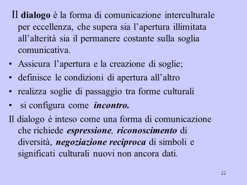 22 Il dialogo è la forma di comunicazione interculturale per eccellenza, che supera sia l'apertura illimitata all'alterità sia il permanere costante s