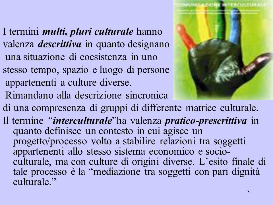 3 I termini multi, pluri culturale hanno valenza descrittiva in quanto designano una situazione di coesistenza in uno stesso tempo, spazio e luogo di