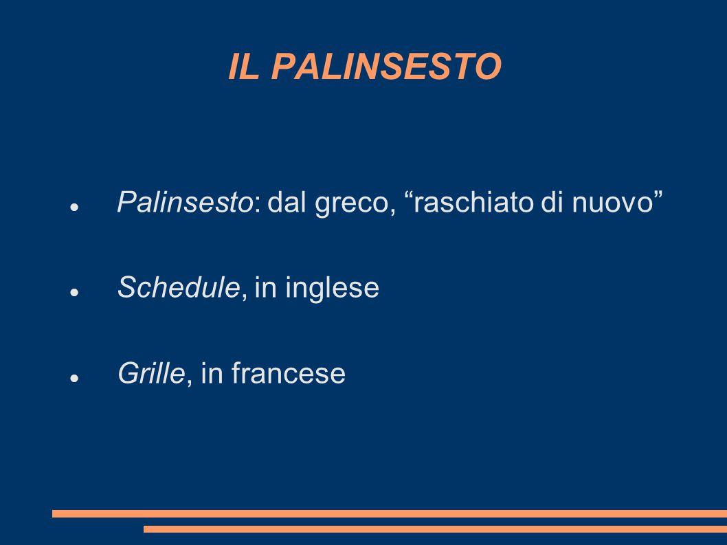 """IL PALINSESTO Palinsesto: dal greco, """"raschiato di nuovo"""" Schedule, in inglese Grille, in francese"""