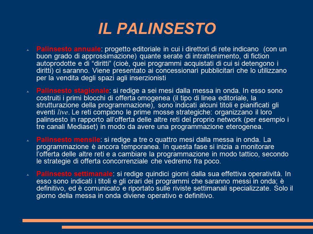 IL PALINSESTO  Palinsesto annuale: progetto editoriale in cui i direttori di rete indicano (con un buon grado di approssimazione) quante serate di in