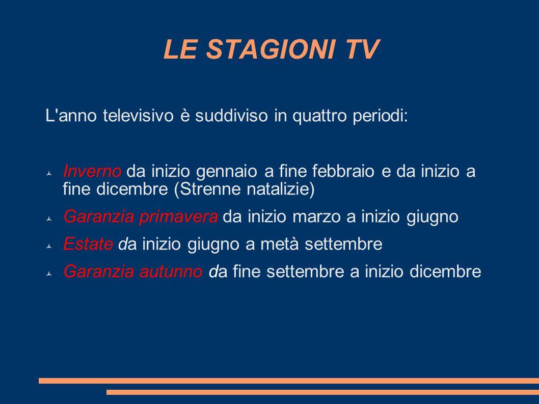 LE STAGIONI TV L'anno televisivo è suddiviso in quattro periodi:  Inverno da inizio gennaio a fine febbraio e da inizio a fine dicembre (Strenne nata