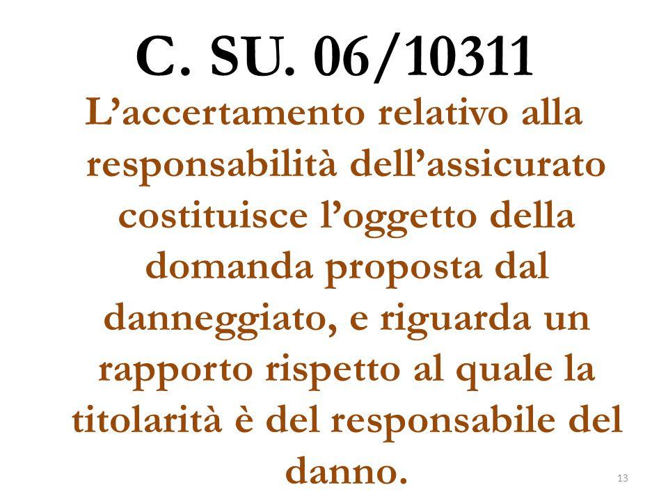 C. SU. 06/10311 L'accertamento relativo alla responsabilità dell'assicurato costituisce l'oggetto della domanda proposta dal danneggiato, e riguarda u