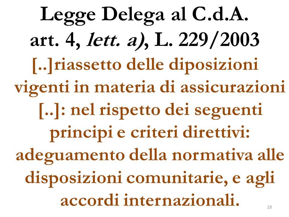 Legge Delega al C.d.A. art. 4, lett. a), L. 229/2003 [..]riassetto delle diposizioni vigenti in materia di assicurazioni [..]: nel rispetto dei seguen