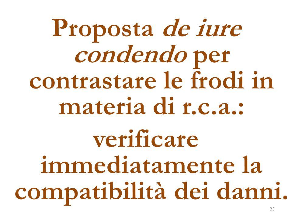 Proposta de iure condendo per contrastare le frodi in materia di r.c.a.: verificare immediatamente la compatibilità dei danni. 33