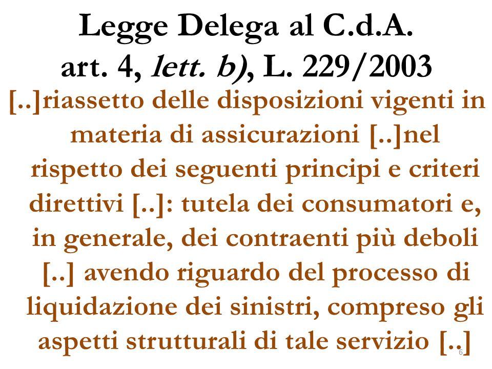 Legge Delega al C.d.A. art. 4, lett. b), L. 229/2003 [..]riassetto delle disposizioni vigenti in materia di assicurazioni [..]nel rispetto dei seguent
