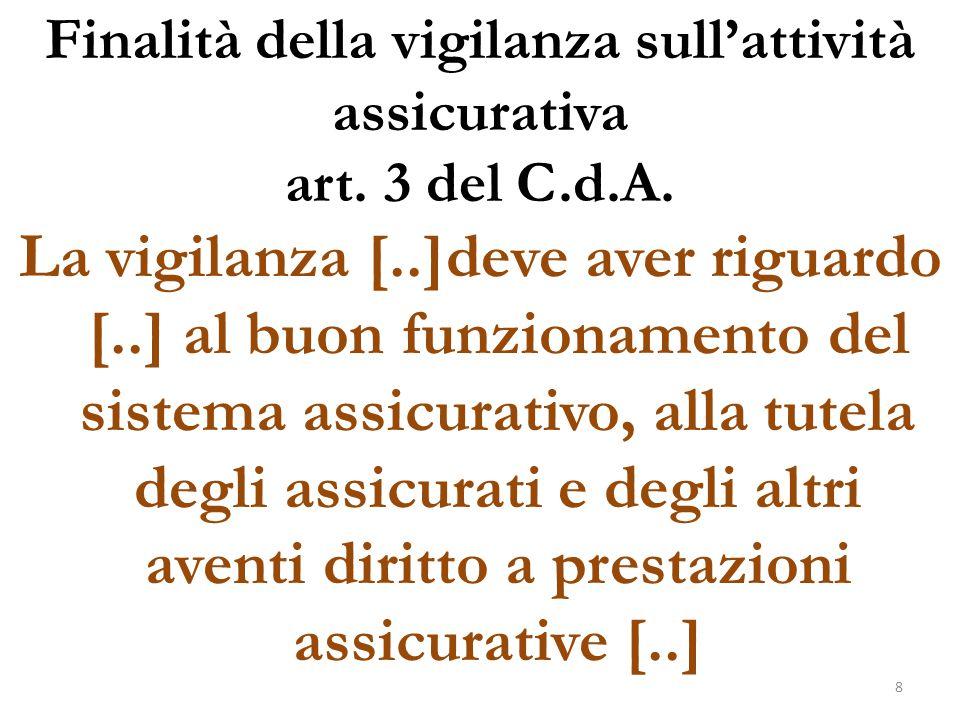 Finalità della vigilanza sull'attività assicurativa art. 3 del C.d.A. La vigilanza [..]deve aver riguardo [..] al buon funzionamento del sistema assic