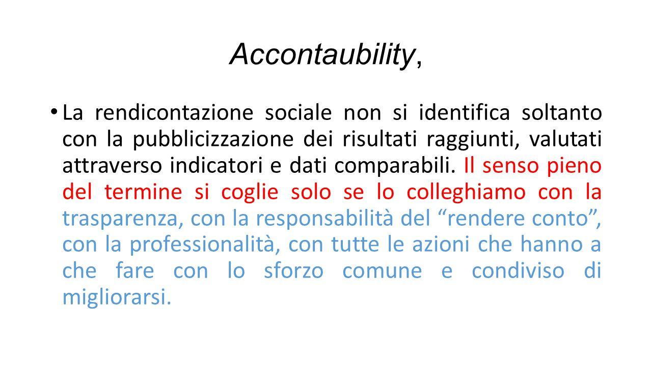 Accontaubility, La rendicontazione sociale non si identifica soltanto con la pubblicizzazione dei risultati raggiunti, valutati attraverso indicatori e dati comparabili.