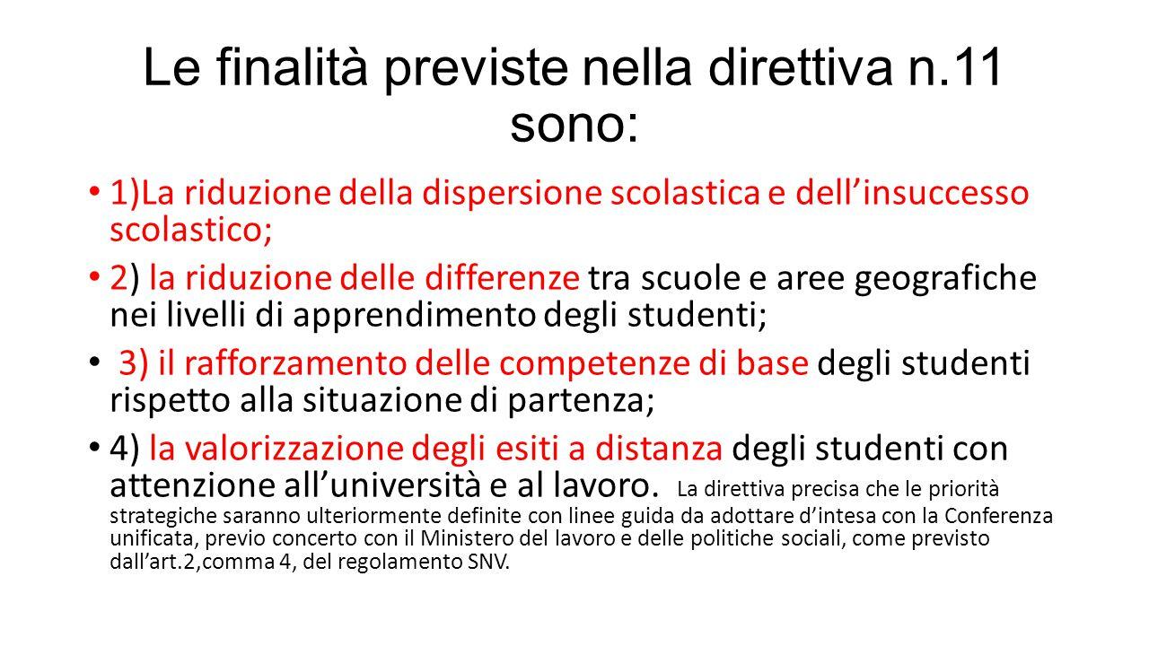 Le finalità previste nella direttiva n.11 sono: 1)La riduzione della dispersione scolastica e dell'insuccesso scolastico; 2) la riduzione delle differ