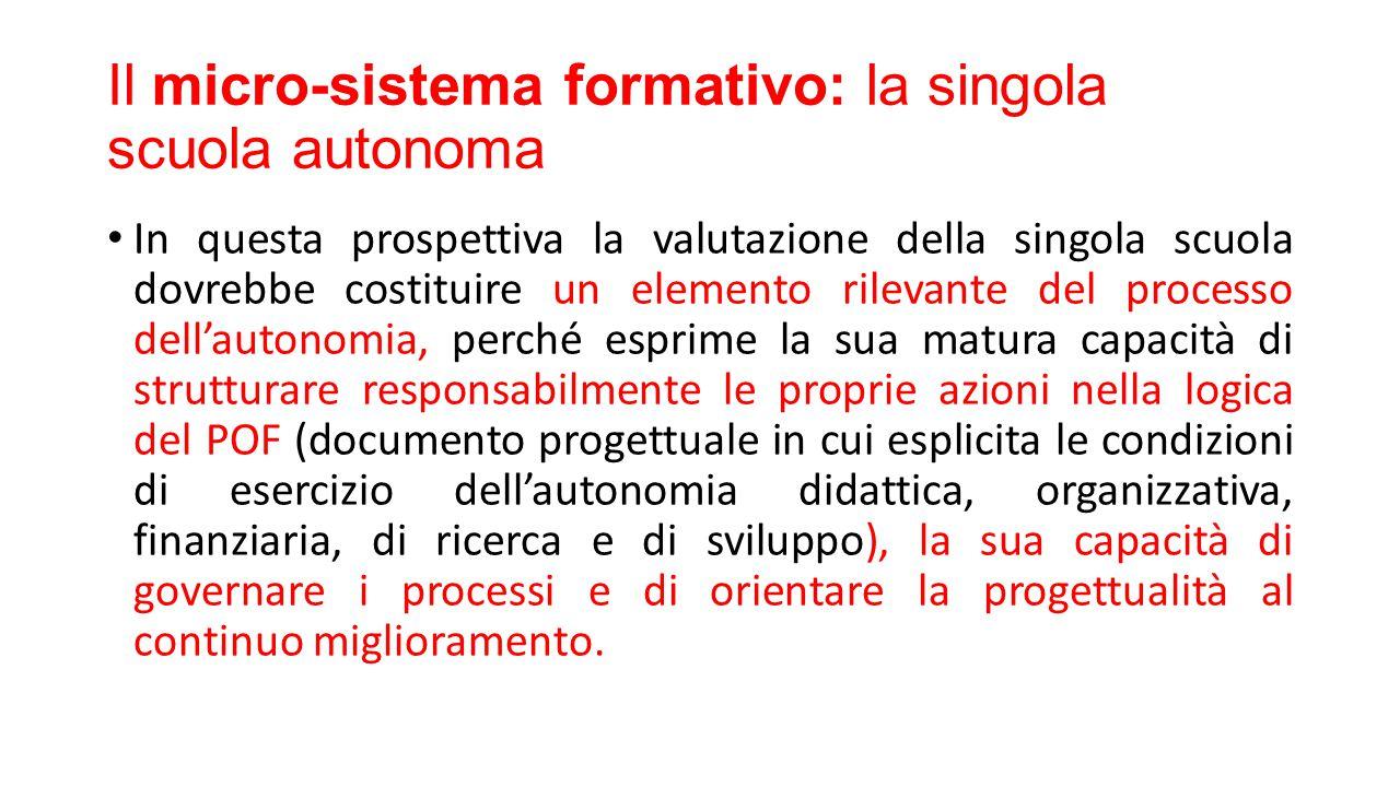 Il micro-sistema formativo: la singola scuola autonoma In questa prospettiva la valutazione della singola scuola dovrebbe costituire un elemento rilev