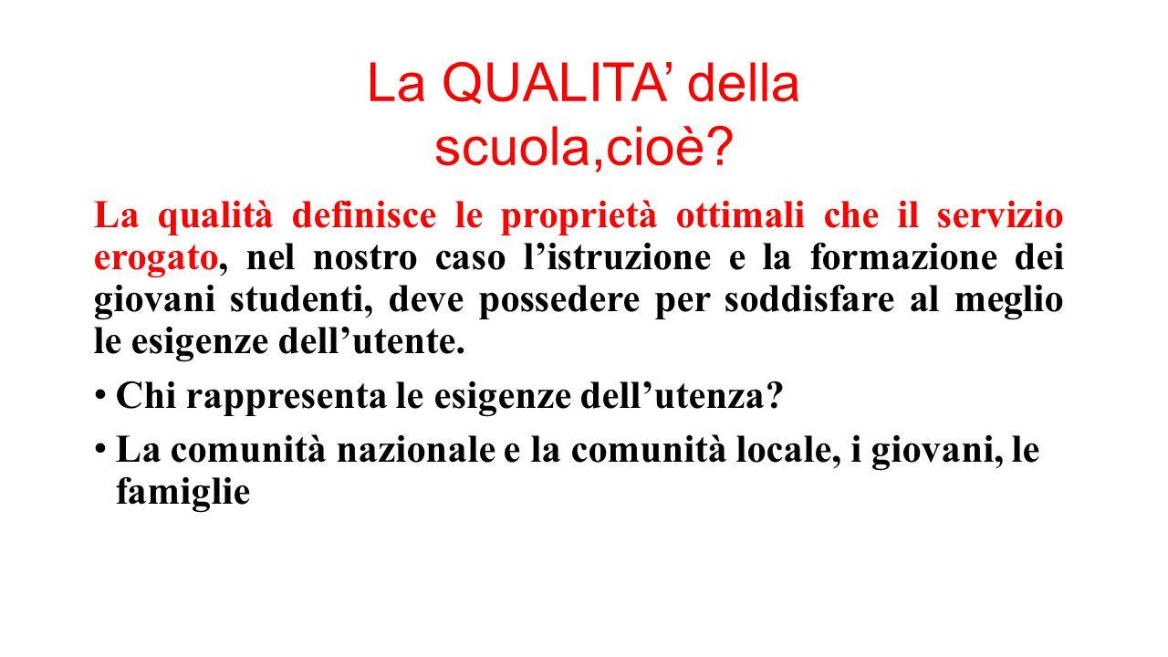 La QUALITA' della scuola,cioè? La qualità definisce le proprietà ottimali che il servizio erogato, nel nostro caso l'istruzione e la formazione dei gi