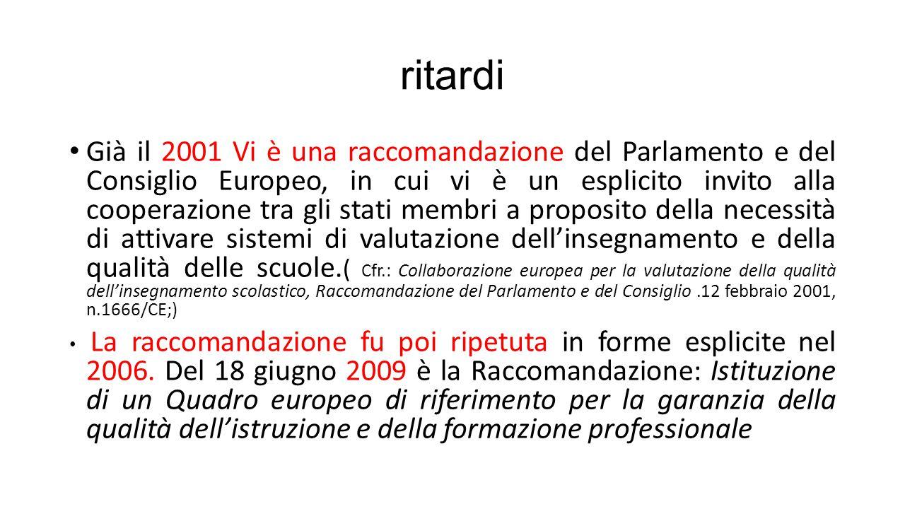 ritardi Già il 2001 Vi è una raccomandazione del Parlamento e del Consiglio Europeo, in cui vi è un esplicito invito alla cooperazione tra gli stati m