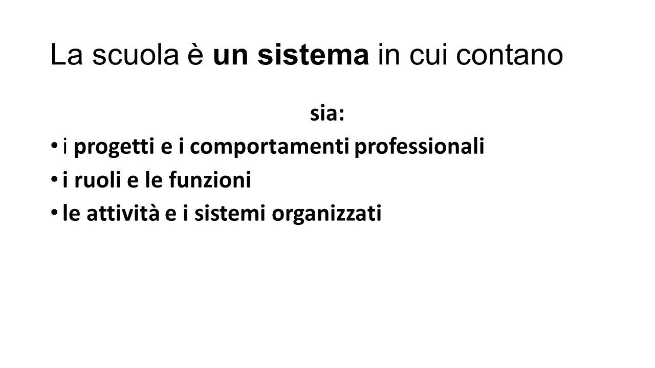 La scuola è un sistema in cui contano sia: i progetti e i comportamenti professionali i ruoli e le funzioni le attività e i sistemi organizzati