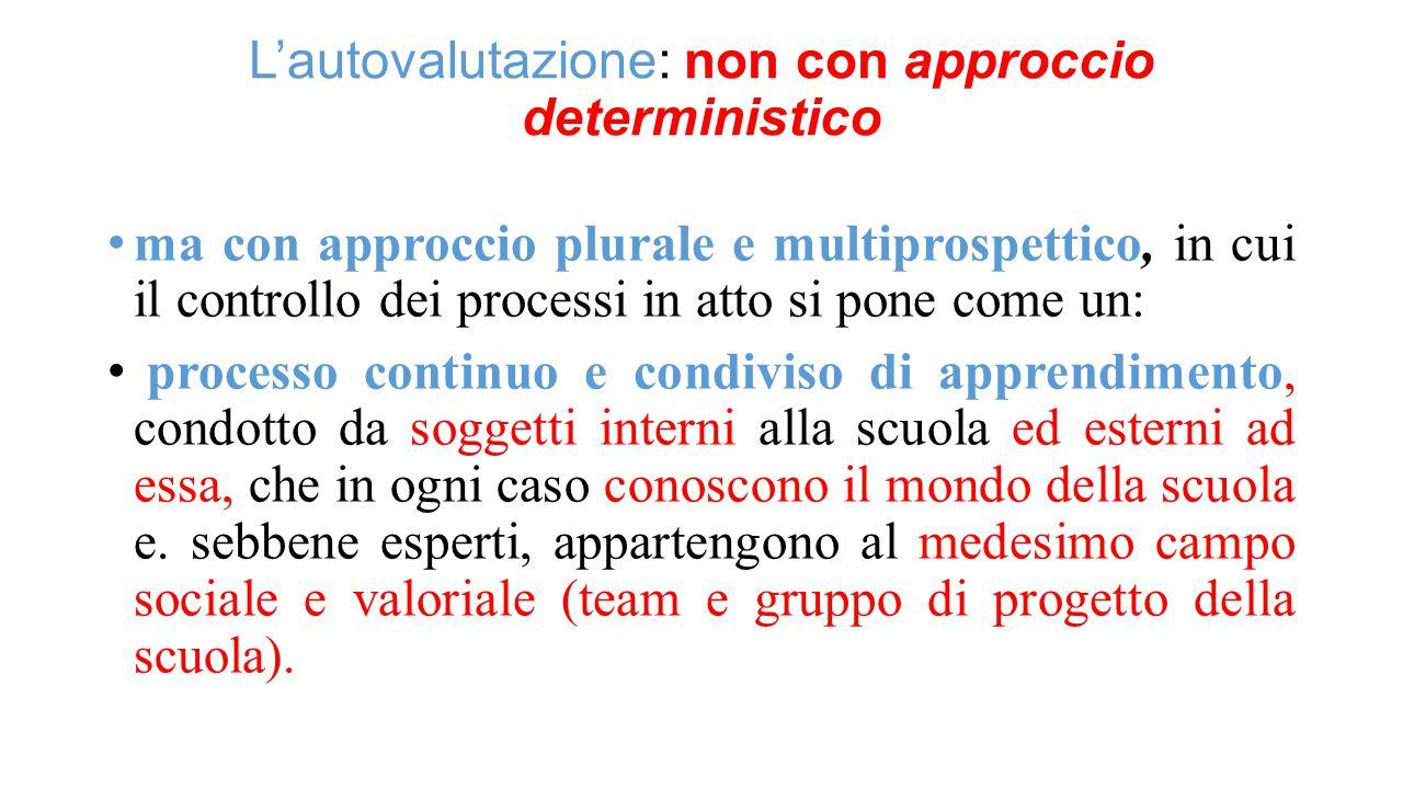 L'autovalutazione: non con approccio deterministico ma con approccio plurale e multiprospettico, in cui il controllo dei processi in atto si pone come