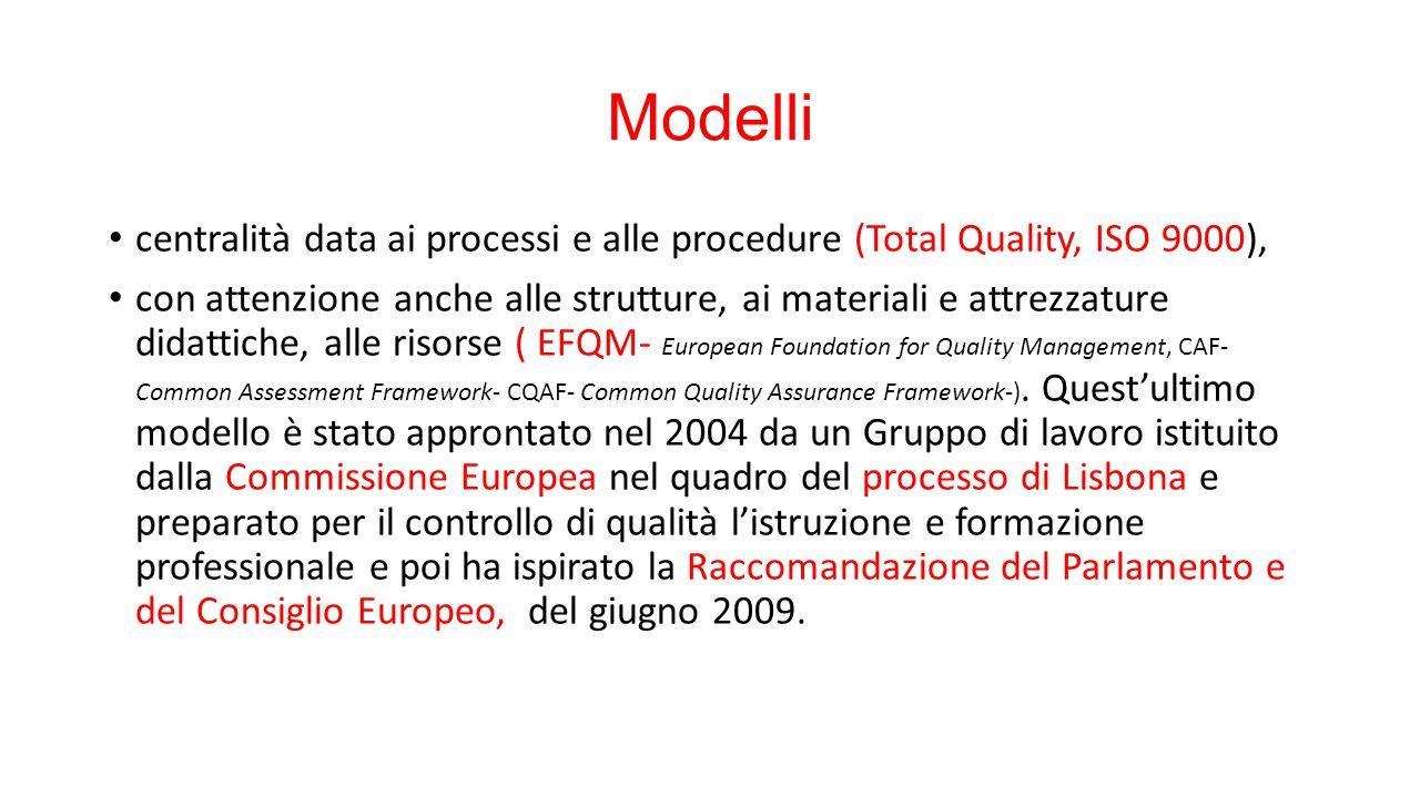 Modelli centralità data ai processi e alle procedure (Total Quality, ISO 9000), con attenzione anche alle strutture, ai materiali e attrezzature didattiche, alle risorse ( EFQM- European Foundation for Quality Management, CAF- Common Assessment Framework- CQAF- Common Quality Assurance Framework-).