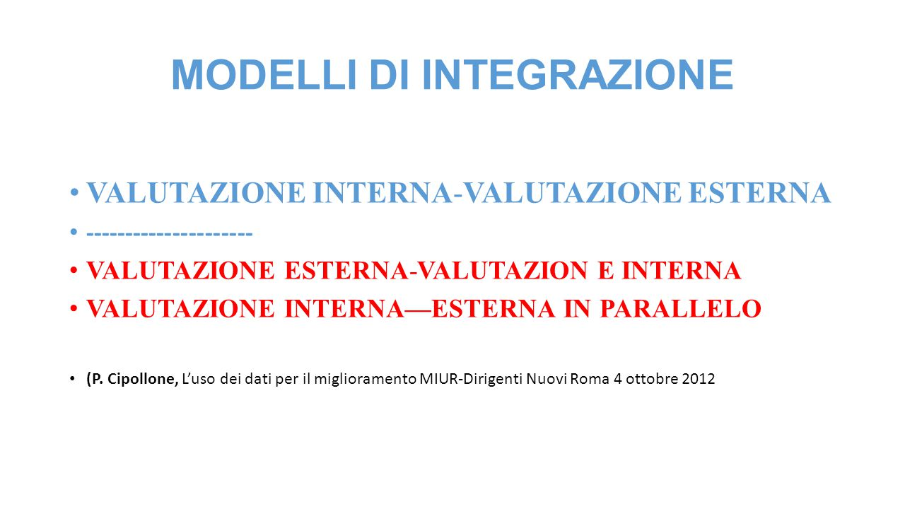 MODELLI DI INTEGRAZIONE VALUTAZIONE INTERNA-VALUTAZIONE ESTERNA --------------------- VALUTAZIONE ESTERNA-VALUTAZION E INTERNA VALUTAZIONE INTERNA—EST