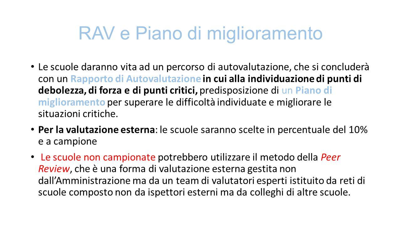 RAV e Piano di miglioramento Le scuole daranno vita ad un percorso di autovalutazione, che si concluderà con un Rapporto di Autovalutazione in cui all