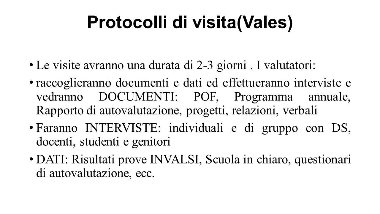 Protocolli di visita(Vales) Le visite avranno una durata di 2-3 giorni. I valutatori: raccoglieranno documenti e dati ed effettueranno interviste e ve