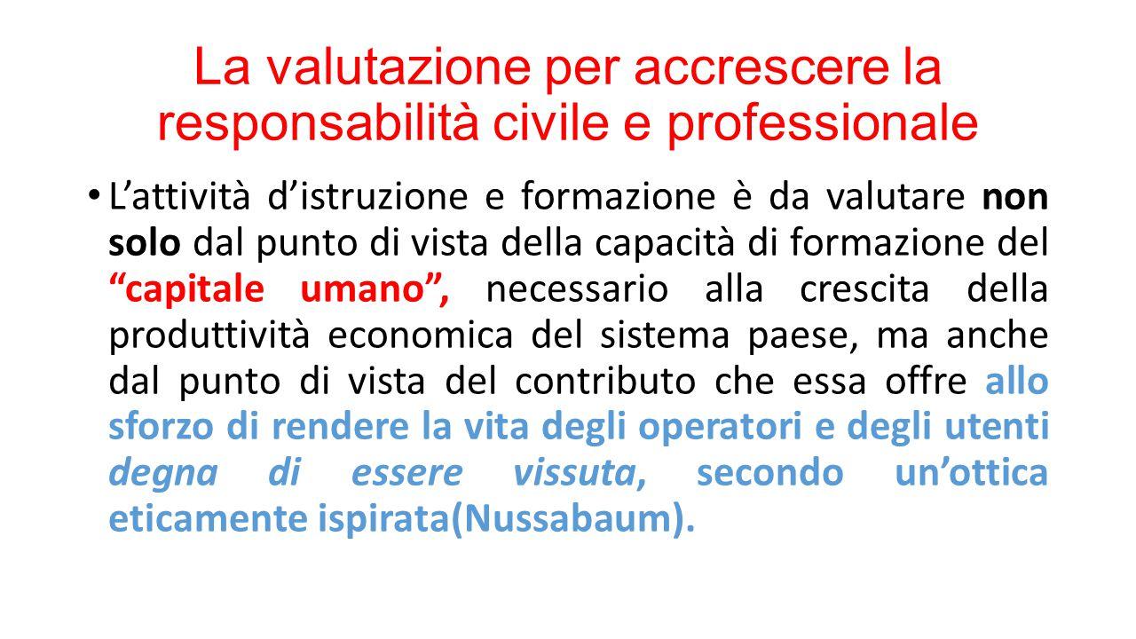 La valutazione per accrescere la responsabilità civile e professionale L'attività d'istruzione e formazione è da valutare non solo dal punto di vista