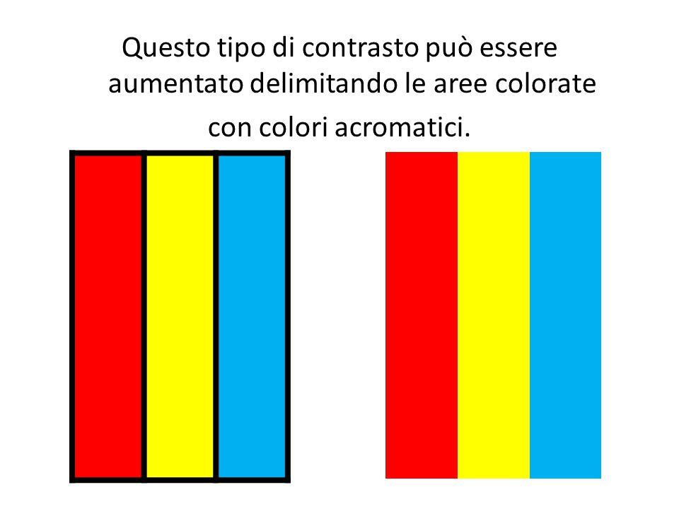 Questo tipo di contrasto può essere aumentato delimitando le aree colorate con colori acromatici.