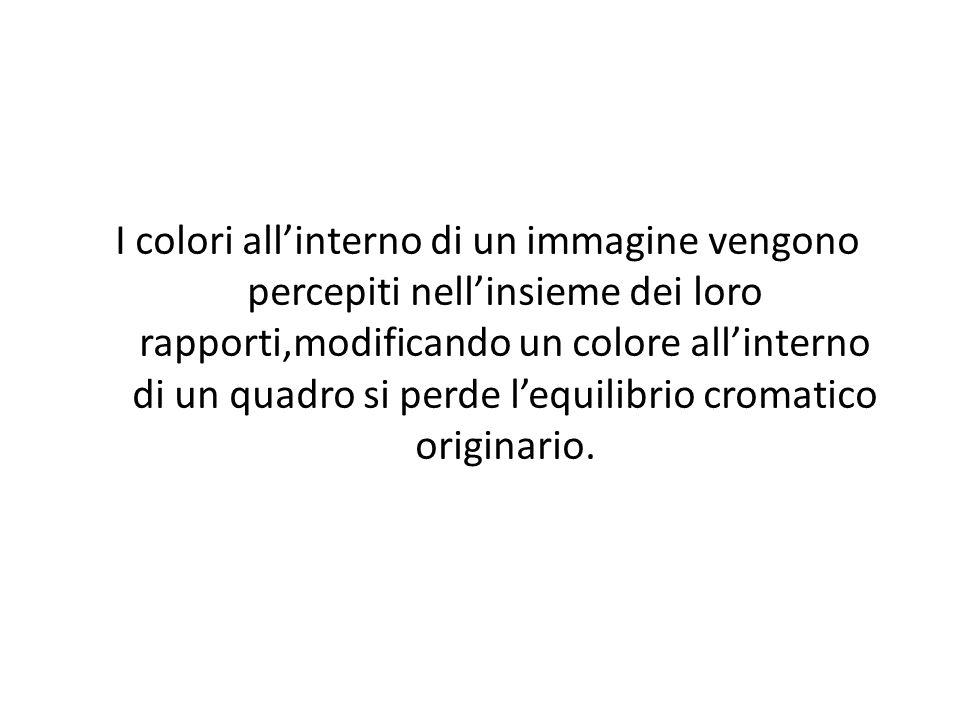 I colori all'interno di un immagine vengono percepiti nell'insieme dei loro rapporti,modificando un colore all'interno di un quadro si perde l'equilib