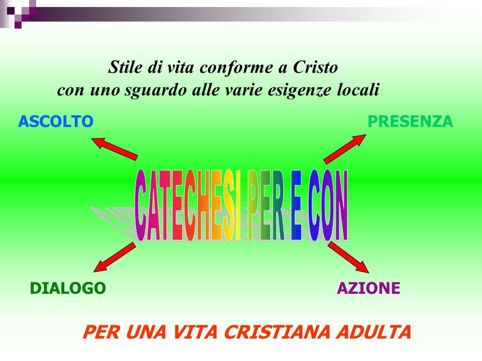 Stile di vita conforme a Cristo con uno sguardo alle varie esigenze locali DIALOGO PRESENZA AZIONE PER UNA VITA CRISTIANA ADULTA ASCOLTO
