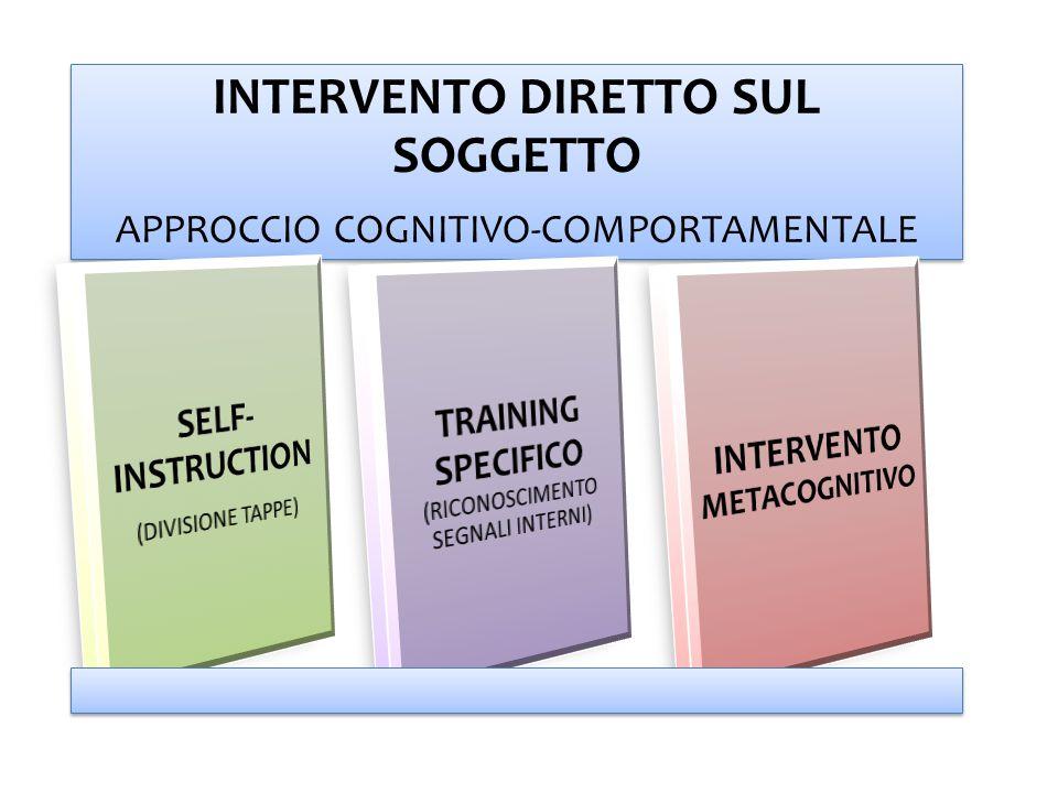 INTERVENTO DIRETTO SUL SOGGETTO APPROCCIO COGNITIVO-COMPORTAMENTALE