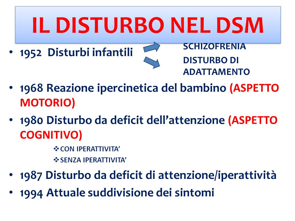 IPOTESI CAUSALI NEL TEMPO: Malfunzionamento Sistema Nervoso Centrale Complicazioni durante la gravidanza/parto OGGI: 70/91% FATTORI GENETICI/AMBIENTALI 10/30% FATTORI AMBIENTALI NO CATTIVA EDUCAZIONE