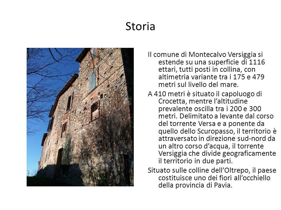 Storia Il comune di Montecalvo Versiggia si estende su una superficie di 1116 ettari, tutti posti in collina, con altimetria variante tra i 175 e 479 metri sul livello del mare.