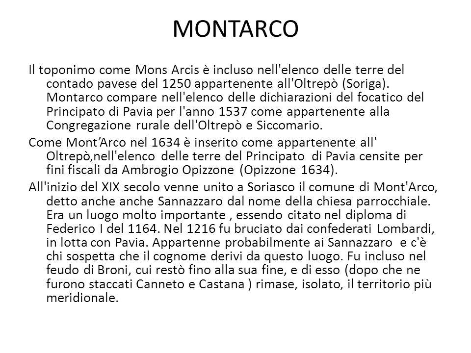 MONTARCO Il toponimo come Mons Arcis è incluso nell elenco delle terre del contado pavese del 1250 appartenente all Oltrepò (Soriga).