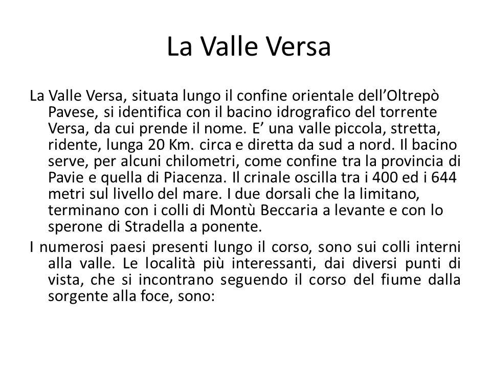 La Valle Versa La Valle Versa, situata lungo il confine orientale dell'Oltrepò Pavese, si identifica con il bacino idrografico del torrente Versa, da cui prende il nome.