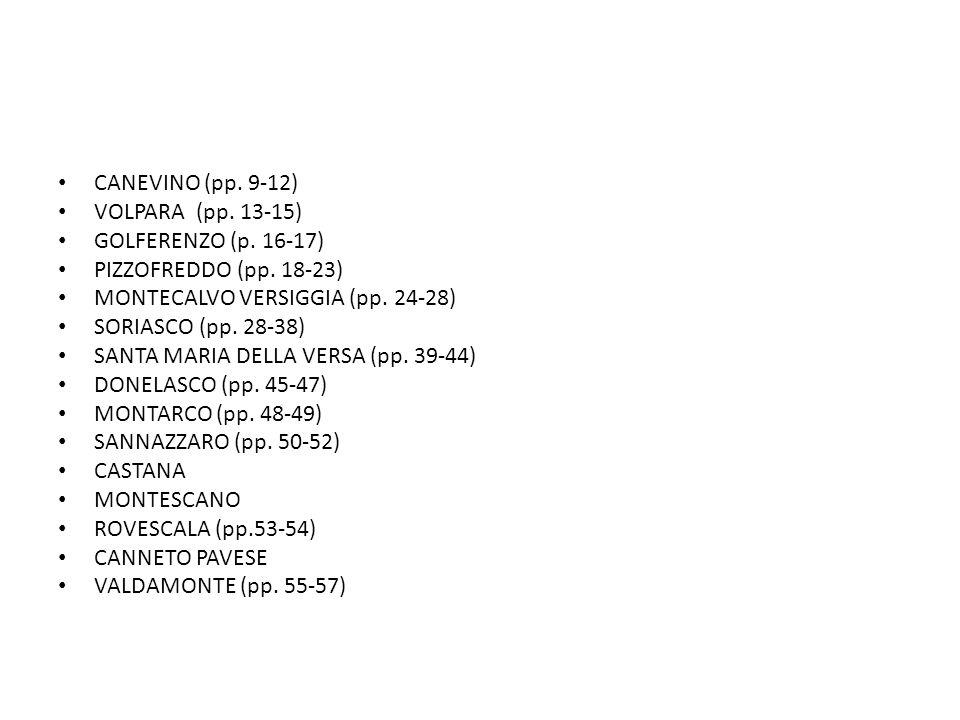 CANEVINO (pp.9-12) VOLPARA (pp. 13-15) GOLFERENZO (p.