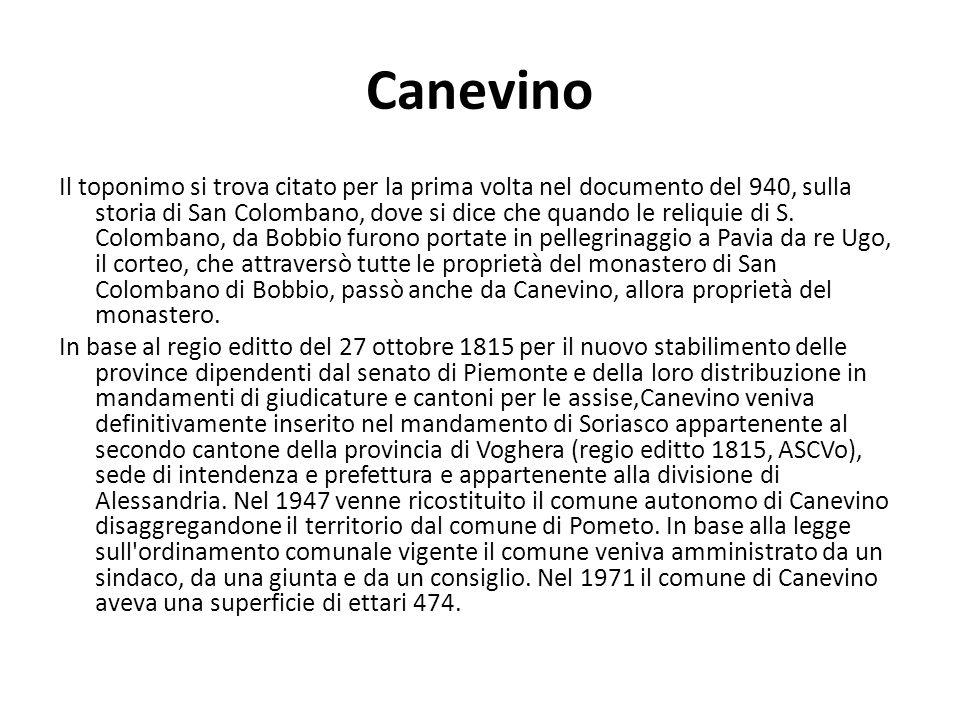 Canevino Il toponimo si trova citato per la prima volta nel documento del 940, sulla storia di San Colombano, dove si dice che quando le reliquie di S.