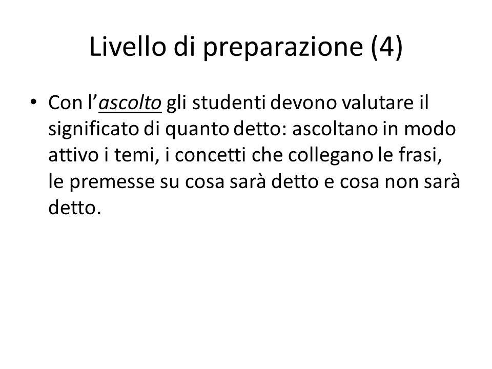 Livello di preparazione (4) Con l'ascolto gli studenti devono valutare il significato di quanto detto: ascoltano in modo attivo i temi, i concetti che
