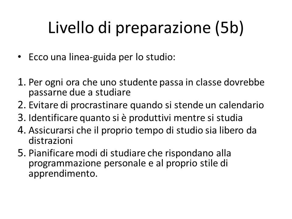 Livello di preparazione (5b) Ecco una linea-guida per lo studio: 1. Per ogni ora che uno studente passa in classe dovrebbe passarne due a studiare 2.