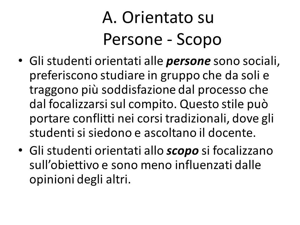 A. Orientato su Persone - Scopo Gli studenti orientati alle persone sono sociali, preferiscono studiare in gruppo che da soli e traggono più soddisfaz