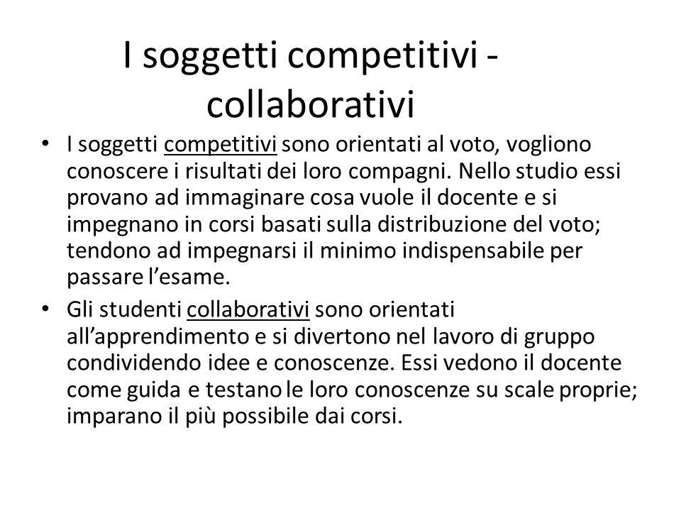 I soggetti competitivi - collaborativi I soggetti competitivi sono orientati al voto, vogliono conoscere i risultati dei loro compagni. Nello studio e