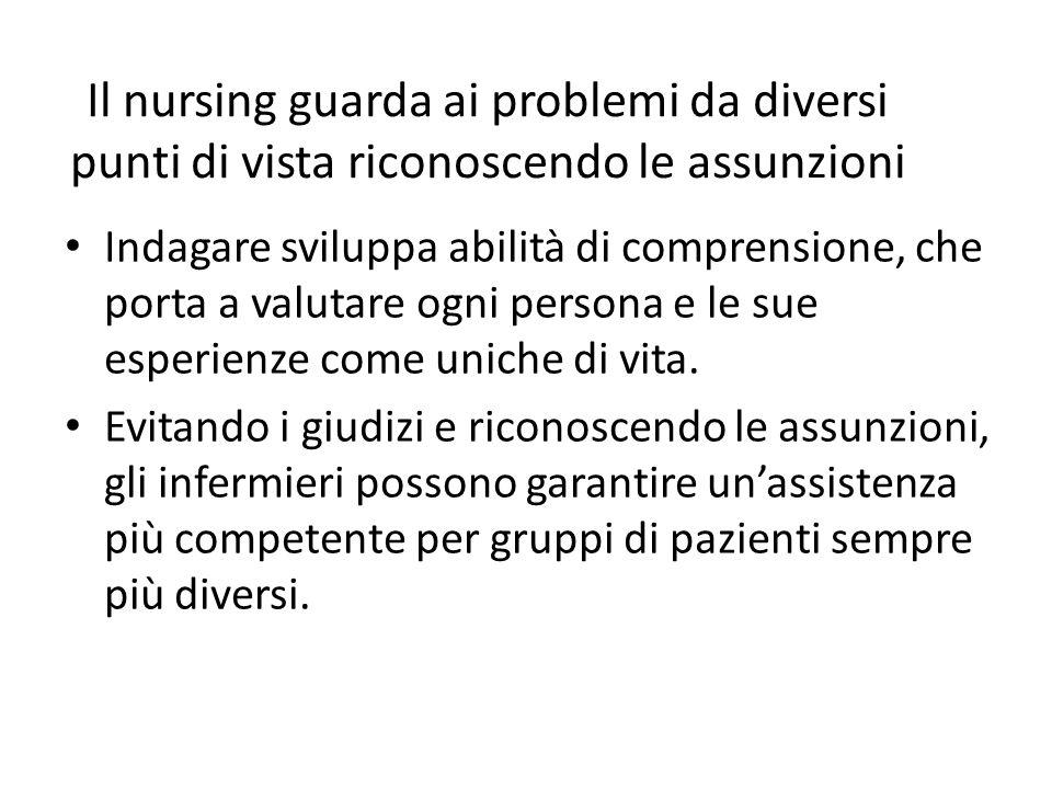 Il nursing guarda ai problemi da diversi punti di vista riconoscendo le assunzioni Indagare sviluppa abilità di comprensione, che porta a valutare ogn