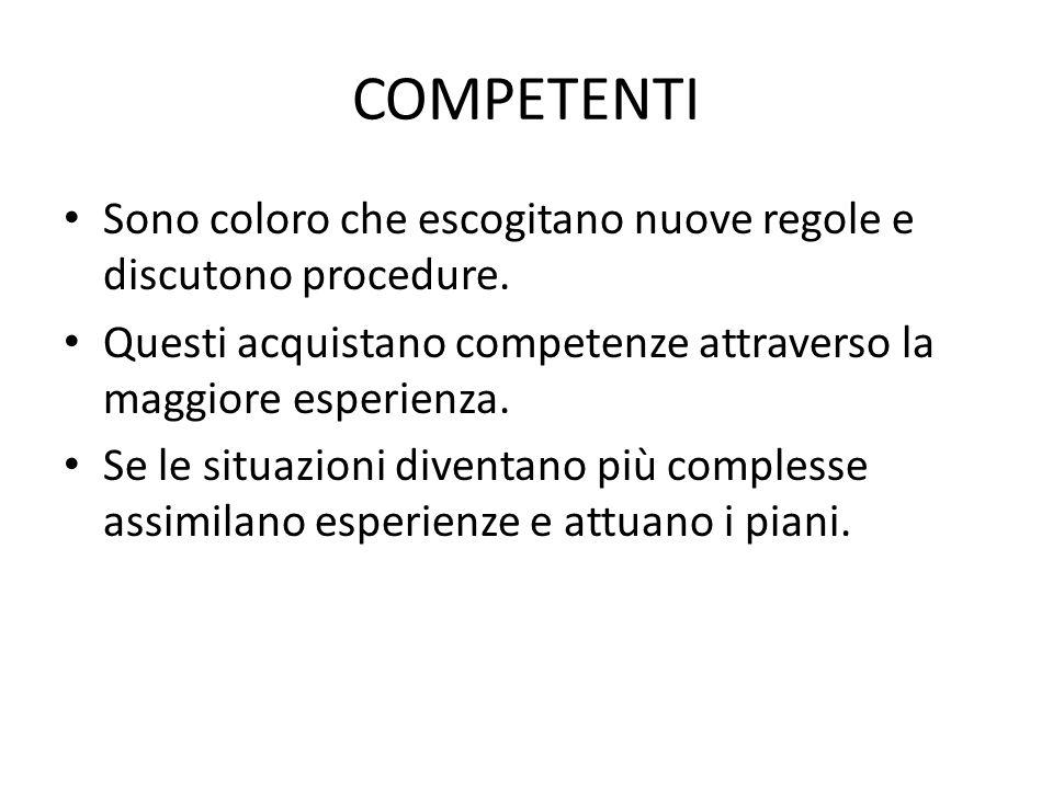 COMPETENTI Sono coloro che escogitano nuove regole e discutono procedure. Questi acquistano competenze attraverso la maggiore esperienza. Se le situaz