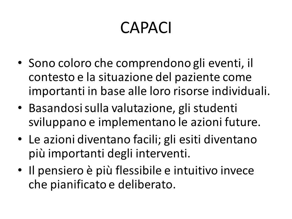 CAPACI Sono coloro che comprendono gli eventi, il contesto e la situazione del paziente come importanti in base alle loro risorse individuali. Basando