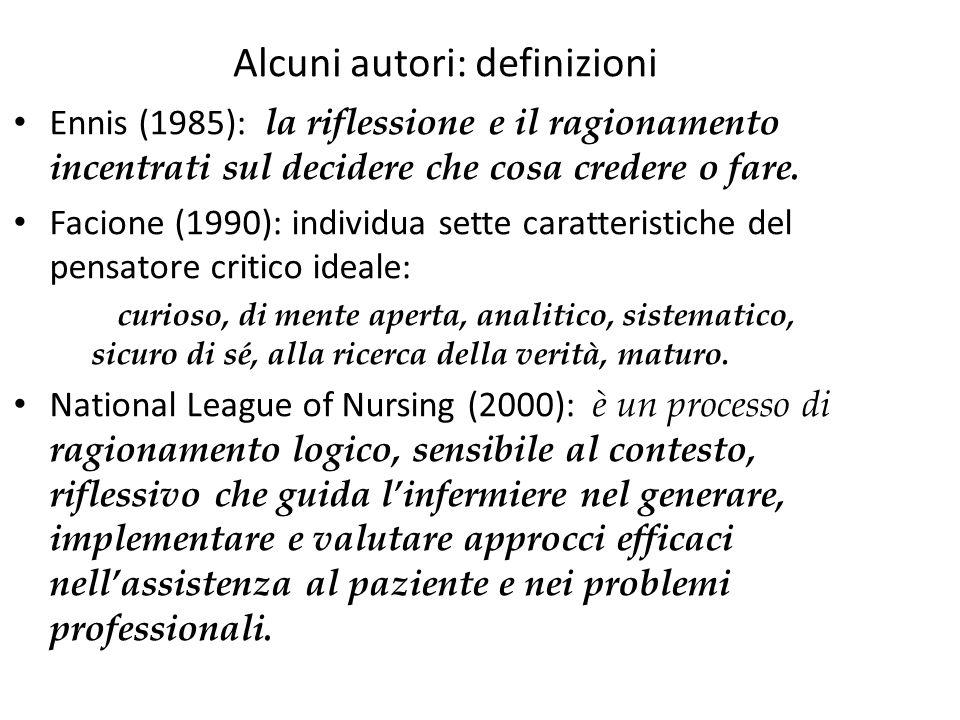 Alcuni autori: definizioni la riflessione e il ragionamento incentrati sul decidere che cosa credere o fare. Ennis (1985): la riflessione e il ragiona